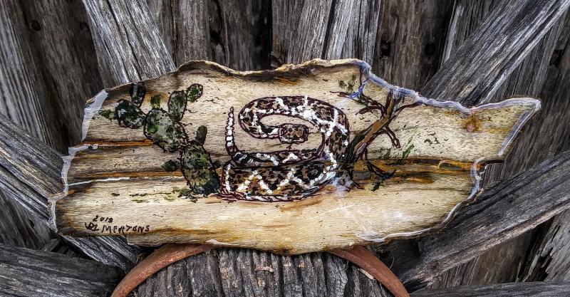 Handpainted Rattle snake on stone slab mertensfrontierranch.com