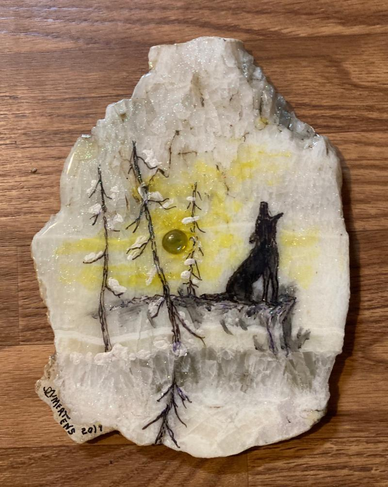 """Howling at the Moon"" Painted Stone mertensfrontierranch.com"