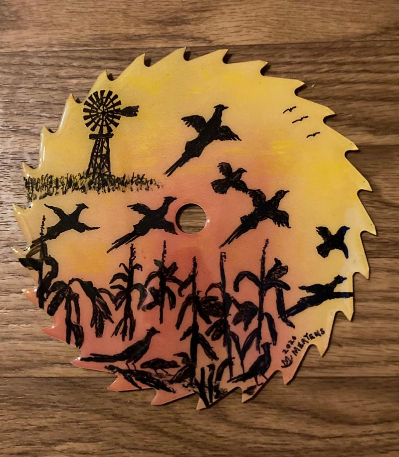 """Pheasants in the Sky"" Round Saw Blade"