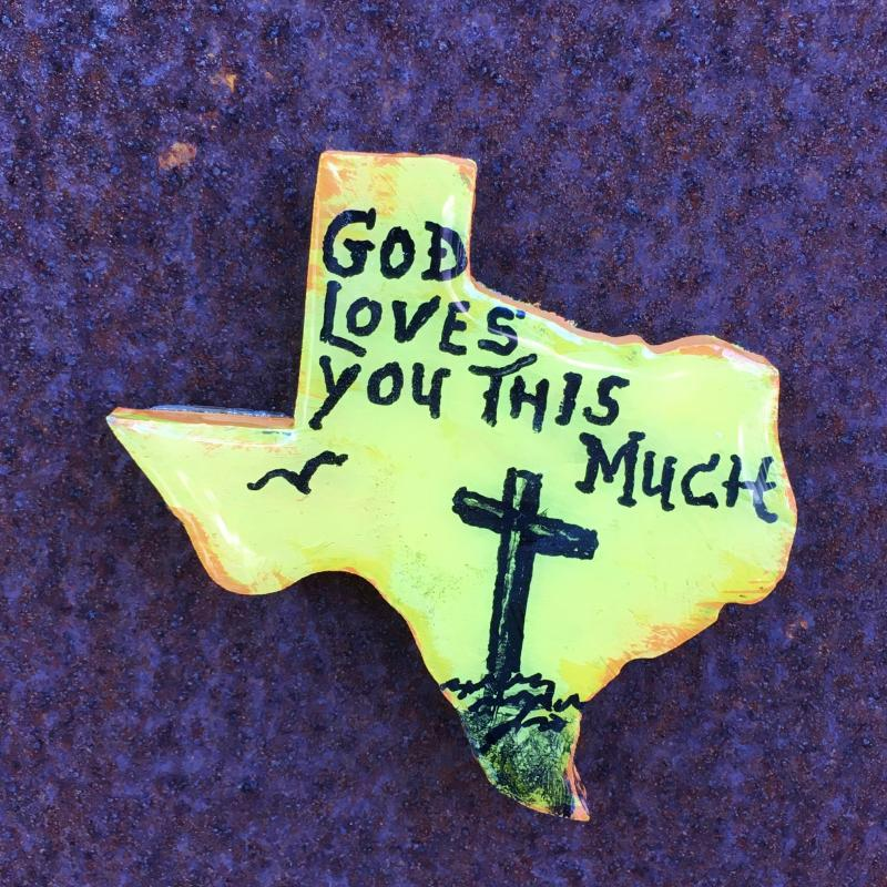 """God Loves You This Much"" on Boot Magnet  mertensfrontierranch.com"