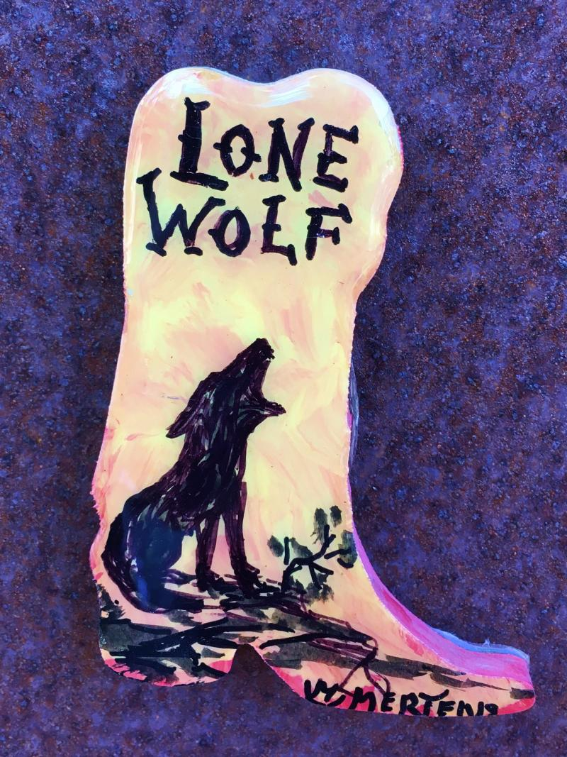 """Lone Wolf"" on Boot Magnet mertensfrontierranch.com"
